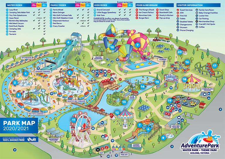Park Map Water Park In Melbourne Adventure Park